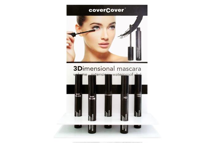 Espositore con le 5 tipologie di 3Dimensional Mascara Covercover